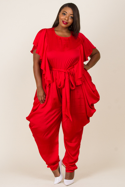 ROUND NECK SIDE RUFFLED BAGGIE PANT JUMPSUIT
