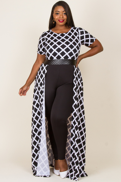 ROUND NECK SHORT SLEEVE CHESS PRINTED AND SOLID COMBO JUMPSUIT
