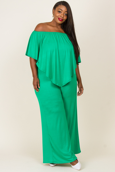 OFF SHOULDER FRONT AND BACK LAYERED JUMPSUIT
