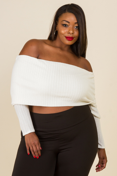 Folded Ribbed Cropped Fall Top
