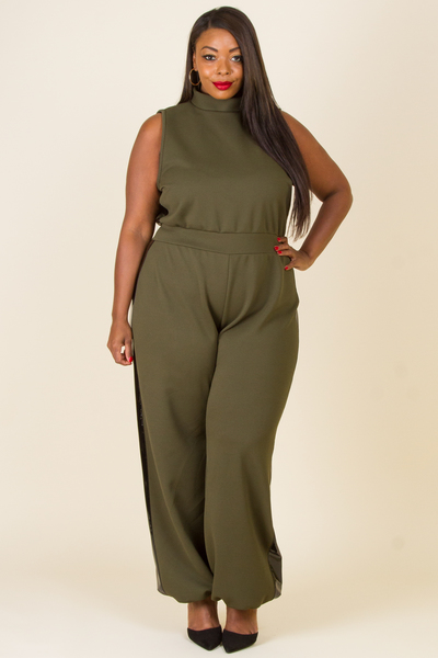MOCK NECK SLEEVELESS JUMPSUIT