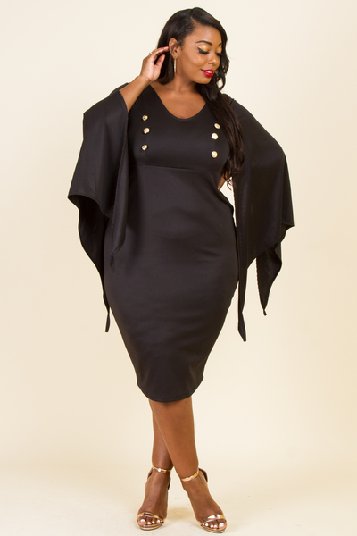 V-NECK CASCADE SLEEVE FRONT BUTTON POINT FITTED DRESS