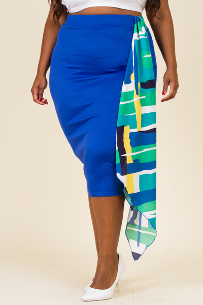 CASCADE SIDE PRINTED RUFFLE FITTED SKIRT