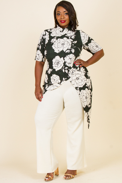 MOCK NECK SHORT SLEEVE ASYMMETRICAL PRINTED TOP SOLD WIDE PANTS