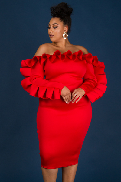 OFF SHOULDER LONG SLEEVE RUFFLE POINT FITTED DRESS