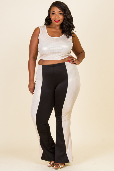 ROUND NECK SLEEVELESS TOP AND BELL BOTTOM PANTS SET