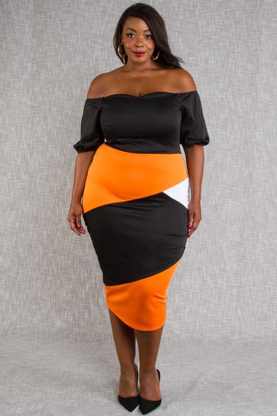 OFF SHOULDER BUST LINE SHAPE COLORBLOCK FITTED DRESS