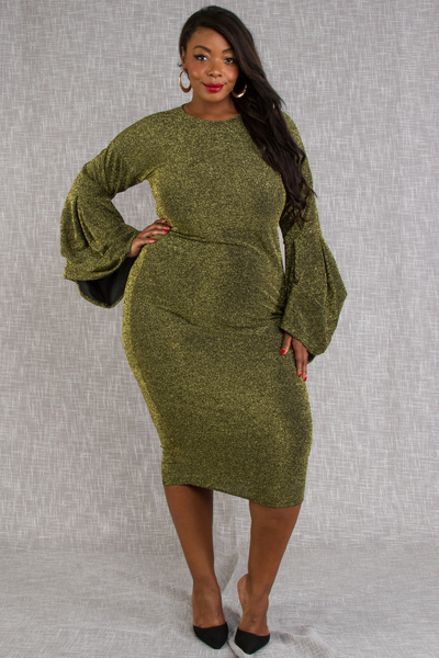 ROUND NECK LUREX FABRIC LONG SLEEVE FITTED DRESS