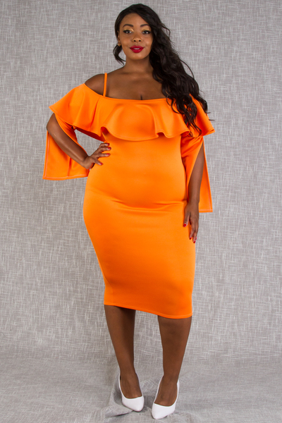 OFF SHOULDER WITH RUFFLE OPENED LONG SLEEVE FITTED DRESS