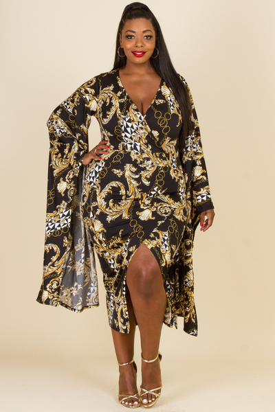 PLUS SIZE LONG SLEEVE POINT MIDI DRESS