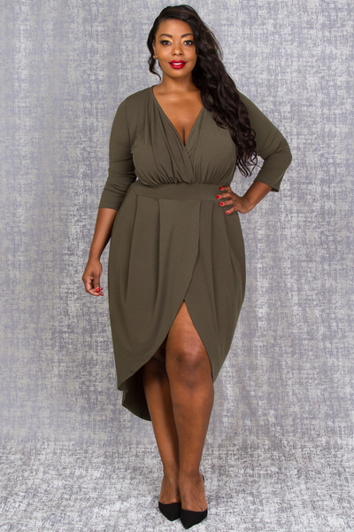 OVERLAP FRONT 3/4 SLEEVE PLEATED HIGHT LOW DRESS