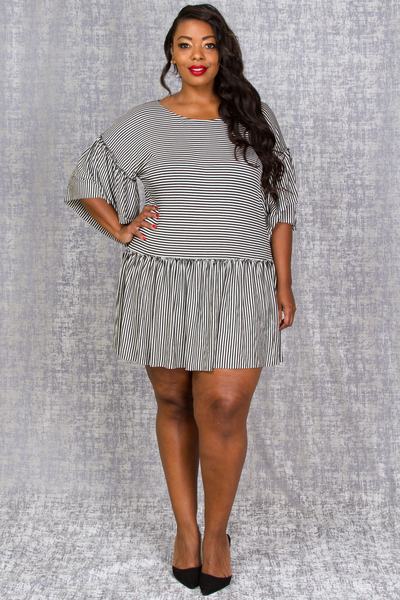ROUND NECK BOXES SHIRTS WITH RUFFLED SLEEVE PIN STRIPE TOP