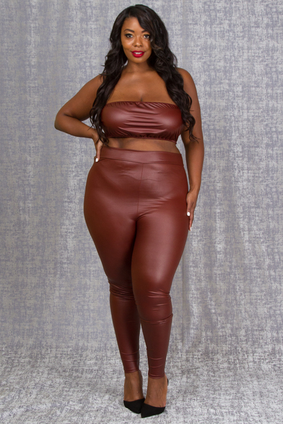 TUBE TOP AND PANTS LEATHER SET