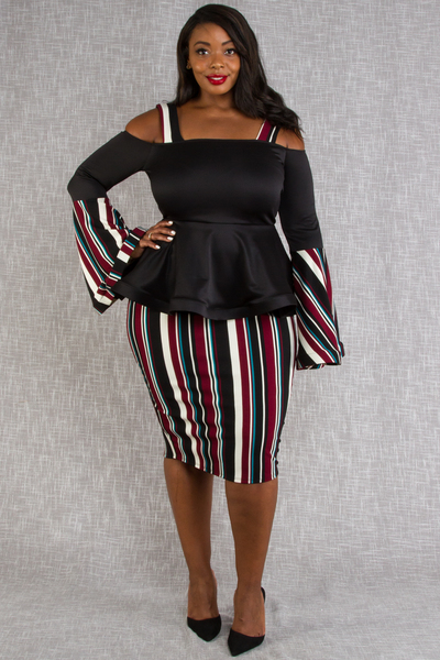 OFF SHOULDER STRIPE AND SOLID COMBO PEPLUM DRESS