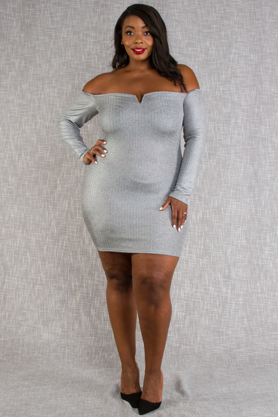 OFF SHOULDER BUST LINE SHAPE LONG SLEEVE LUREX RIBBED DRESS
