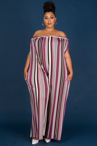 OFF SHOULDER WITH POCKET COMFORTABLED STRIPE PRINTED JUMPSUIT