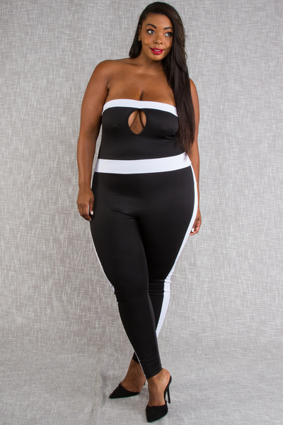 COLOR BLOCK TUBE JUMPSUIT