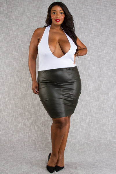 HALTER NECK SOLID AND LEATHER COMBO SEXY DRESS