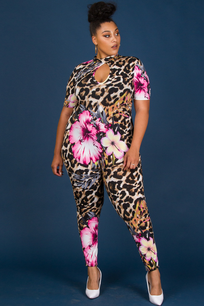 MOCK NECK SHORT SLEEVE LEOPARD WITH FLORAL PRINTED JUMPSUIT
