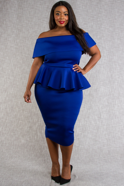 ELEGANT TUBE WITH PEPLUM BACK SLIT DRESS
