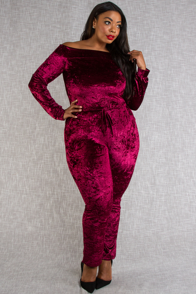 OFF SHOULDERS LONG SLEEVE WAIST TIE WITH POCKET VELVET JUMPSUIT