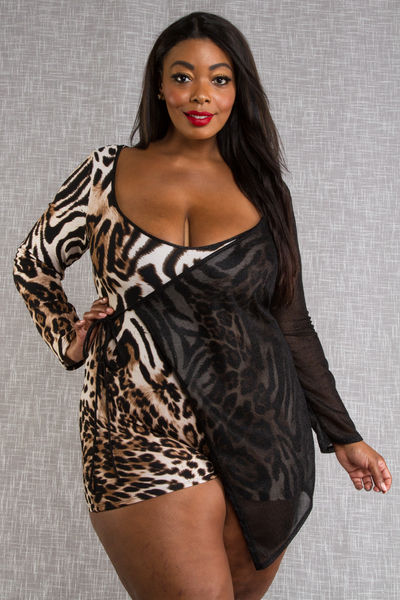 LONG SLEEVE LEOPARD PRINTED ROMPER ONE SIDE MESHED COVER