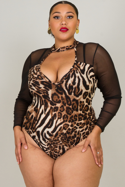 MOCK NECK LONG SLEEVE LEOPARD PRINT AND MESH BODYSUIT