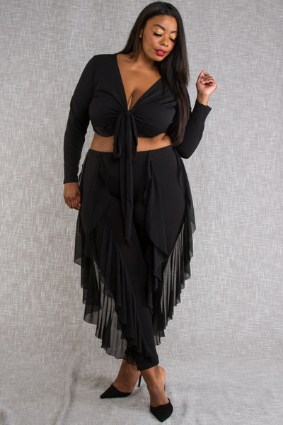 LONG SLEEVE TIED TOP AND SIDE MESH RUFFLED PANTS SET