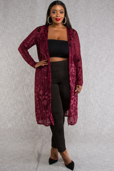 MESH WITH VELVET FLORAL PATTERN LONG SLEEVE CARDIGAN