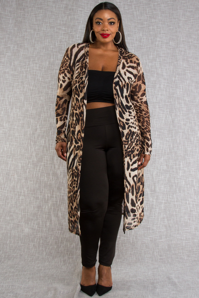 LEOPARD PRINTED MESH LONG SLEEVE CARDIGAN
