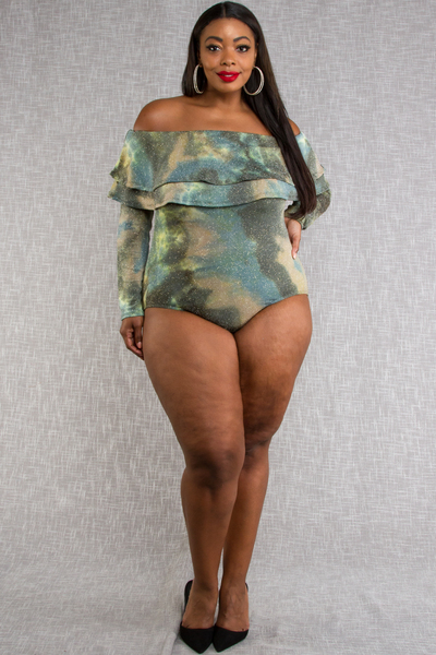 COLD SHOULDER TIE DYED PRINT WITH LUREX BODYSUITS