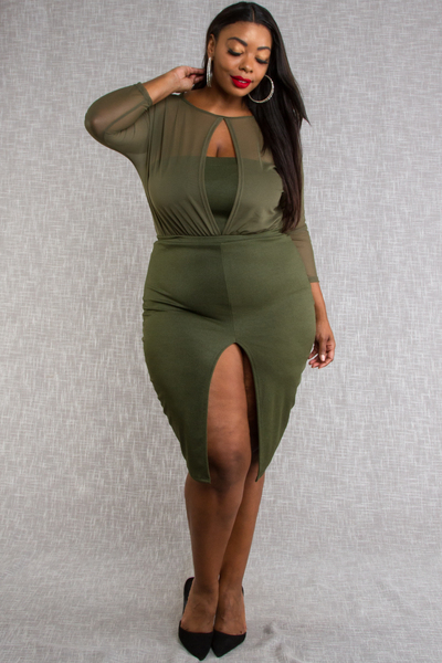 KEYHOLE MESH 3/4 SLEEVED MIDI BODYCON DRESS