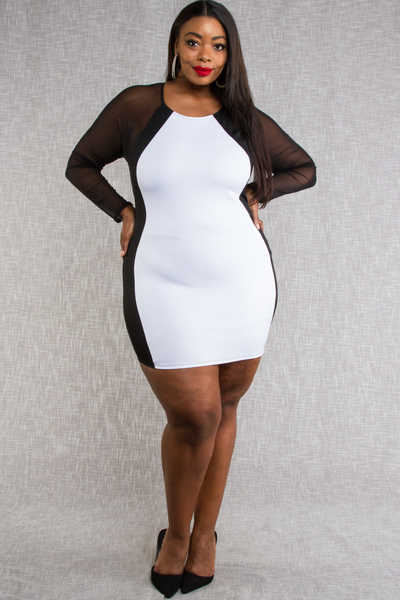 LONG SLEEVE SHINY FABRIC WITH MESH COLOR BLOCK FITTED DRESS