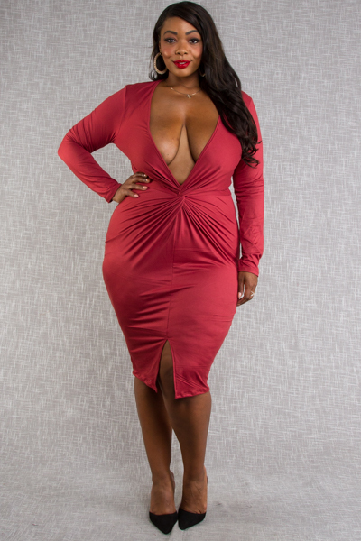 OVERLAP DEEP V-NECK FRONT LONG SLEEVE FRONT OPEN SKIRT FITTED DRESS