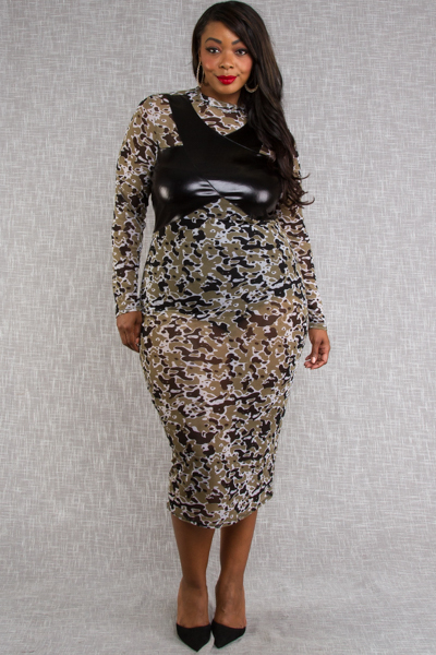 MOCK NECK LONG SLEEVE CAMO PRINT AND LEATHER COMBO FITTED DRESS