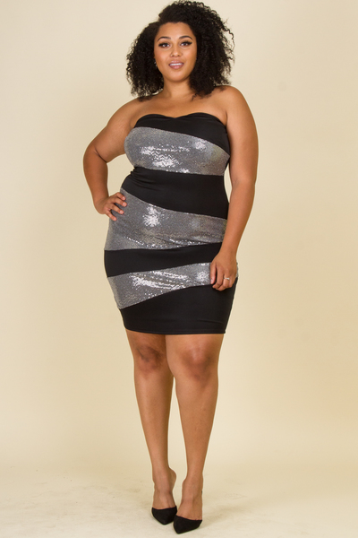 TUBE TOP SEQUENCE AND SOLID MIX FITTED DRESS