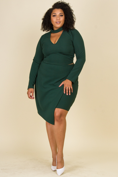 MOCK NECK WITH V-NECK LONG SLEEVE TOP AND SKIRT SET