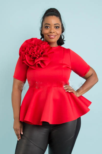 SHORT SLEEVE WITH BIG FLOWER DETAIL PEPLUM STYLE TOP