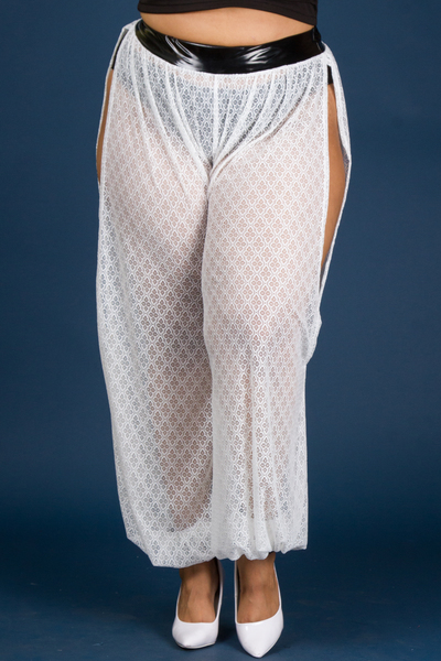 SIDE SLIT LACE WIDE PANTS WITH SHINY BAND