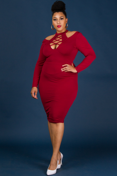 MOCK NECK WITH SPAGHETTI FRONT LONG SLEEVE FITTED DRESS