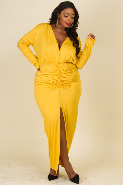 DEEP V-NECK LONG SLEEVE FRONT SLIT SHIRRING POINT LONG DRESS