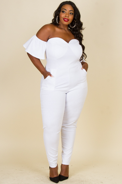 OFF SHOULDER SWEETHEART NECKLINE WITH POCKET JUMPSUIT