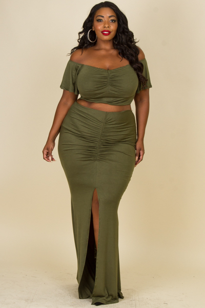 SEXY COLD SHOULDER SOLID TOP AND SKIRTS SET