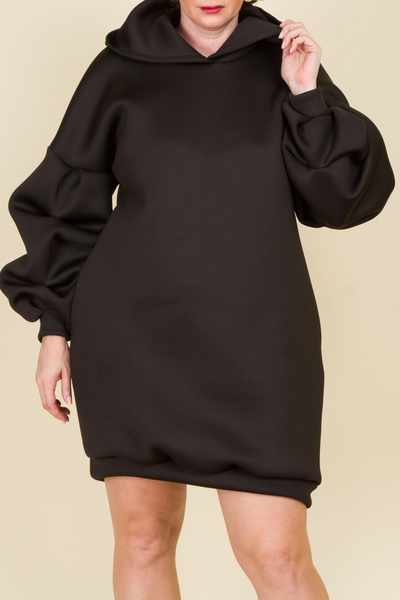 Long sleeves solid trendy mini dress with hoodie