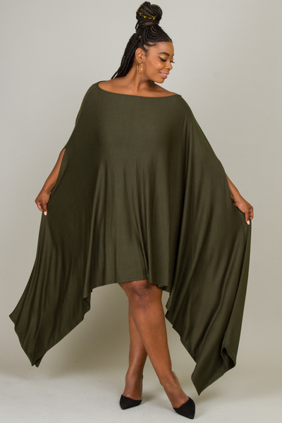 OFF SHOULDER SIDE CASCADE SOLID DRESS
