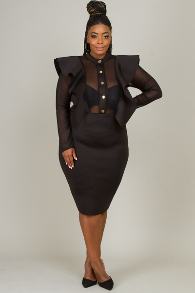 BUTTON DOWN MESH FRONT AND BACK SIDE RUFFLE DRESS