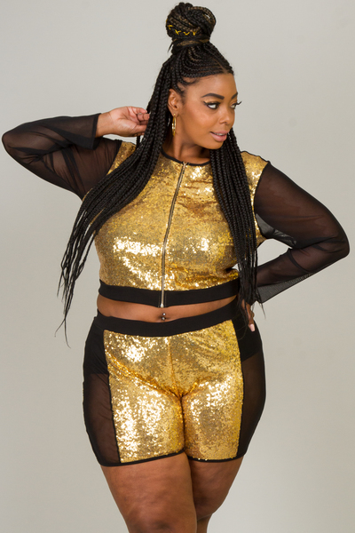 SEQUINS AND MESH COMBO TOP AND PANTS SET