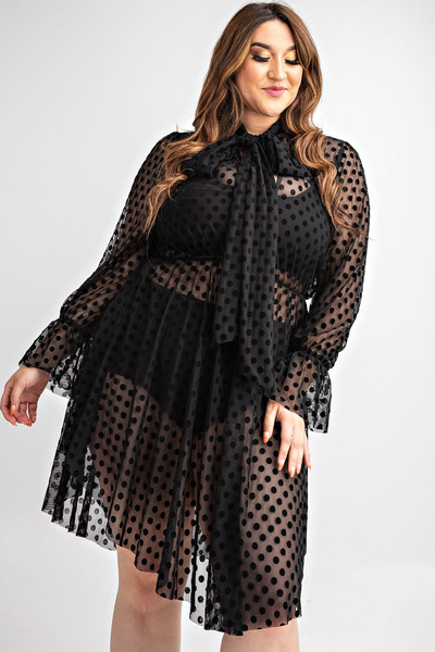 BOW TIE SEE-THROUGH DOT LACE LOVELY DRESS