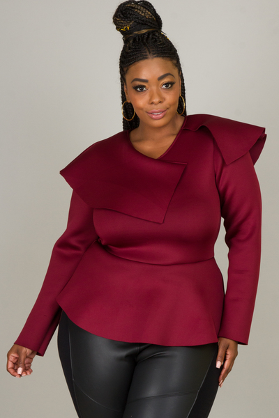 PEPLUM LONG SLEEVE TOP