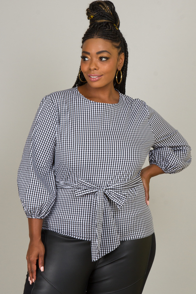 ROUND NECK PUFFED SLEEVE WITH WAIST TIED RIBBON TOP